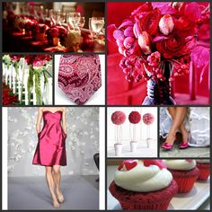 red pink and white weddings - I wouldnt have my bridesmaids wear short dresses though
