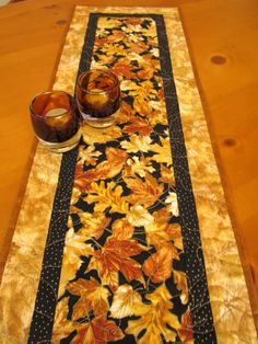 Gold Leaves Fall Table Runner by PatchworkMountain on Etsy