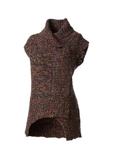Designer Clothes, Shoes & Bags for Women Brown Vest, Black Vest, Brown Sweater, Black Sweaters, Wrap Cardigan, Sweater Making, Style Guides, High Neck Dress, Feminine