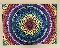 This is a inches (approximately canvas. Painting all in dots. Finished spray with krylon UV resistant clear acrylic coating. Chakra Art, Mandala Artwork, Hue Color, Clear Acrylic, All The Colors, Photo Art, Paint Colors, Original Paintings, Dots