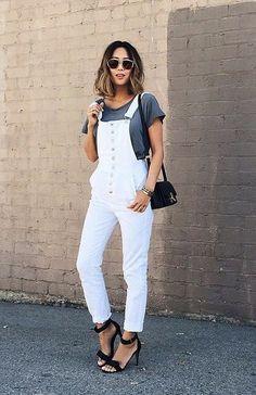 Casual white overalls
