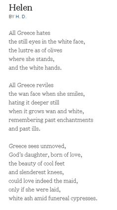 """H.D. (Hilda Doolittle), """"Helen"""" from Collected Poems 1912-1944"""