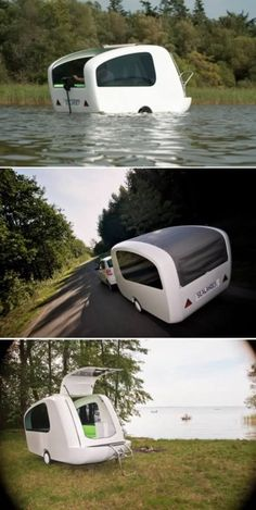 This is the Sealander, a camping trailer small enough to be towed behind a regular-sized car that, when backed into the water, turns into a lil boat. The tiny trailer can be pulled behind a car, the interior rearranges from kitchen to sleeping area, and best of all, you can put the pod out on the water if you feel like going boating for a bit.: