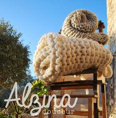 Plaid tricoté laine 100 % mérinos grosse maille