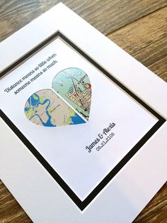 Long Distance Relationship Gift First Anniversary / Wedding First Anniversary, Wedding Anniversary Gifts, Wedding Gifts, Heart Map, Heart Print, Long Distance Relationship Gifts, Distance Relationships, Moving Away Gifts, Long Distance Love