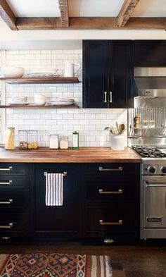 black cabinets + gold hardware. #adoredecor #kitchen