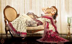 white and red sari