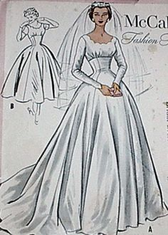 My Elegant 50s Wedding gown pattern I think I'd make the collar rounded to simplify the look, the dress is elegant enough without the scallops