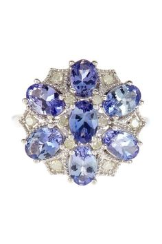 White Diamond & Tanzanite Floral Ring - 0.15 ctw by Savvy Cie on @HauteLook
