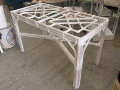 Vintage Rattan Fretwork Table