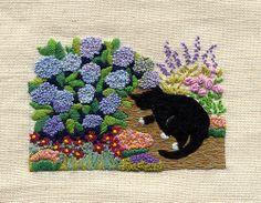 .great kitty and hydrangeas cross stitch chart