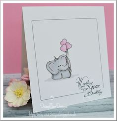 Elephant with balloons card