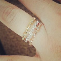 Stackable rings. Yellow, white and rose gold with diamonds.