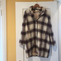 Anthropologie plaid coat Elevensies brand winter coat with pockets and button up. Never been worn. 100% polyester Anthropologie Jackets & Coats Pea Coats
