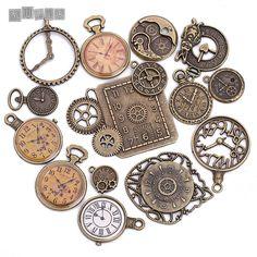 골동품 금속 아연 합금 혼합 시계 매력 펜던트 보석 Diy 장식 시계 매력 15 개/몫 C8498