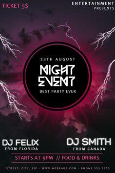 Halloween DJ night party flyer social media post template