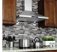 Range Hood Stainless Steel Wall Mount Kitchen Stove Vent 30 Inch Fan Oven  Temp