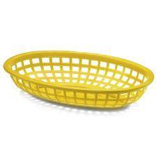 "Tablecraft Yellow 9-3/8"" x 6"" x 2-1/8"" Oval Basket Item 214212"