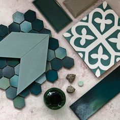 E N C A U S T I C S New Paradise range of green Diamond encaustics with our gorgeous Graffito Green in small hex and long subway with its amazing watercolour effect. We are loving this right now. Moodboard Interior, Pink Tiles, Green Tiles, Interior Design Boards, Encaustic Tile, Pink Marble, Tile Design, Bathroom Inspiration, Color Schemes