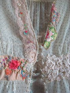 Soft Aroma Top, Sheer Silk, Antique Embroidery, Vintage Lace, Flowers,