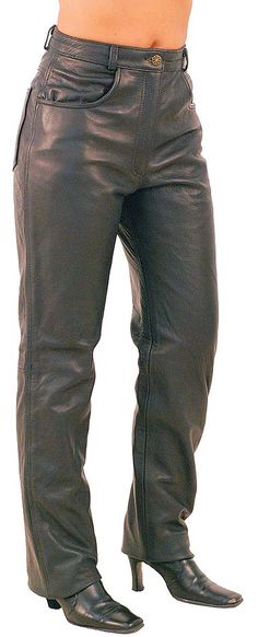 Premium Buffalo Black Leather Pants for Women.only mine are straight leg. Motorcycle Wear, Motorcycle Style, Motorcycle Fashion, Trousers Women, Pants For Women, Jackets For Women, Mens Leather Pants, Studded Combat Boots