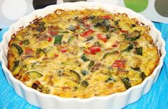 Crustless Vegetable Quiche from Food.com:   I make this quiche and then take slices to work for breakfast. Its a filling quiche that is healthy and delicious. You can use any veggies that you like but this combo has always worked for me.