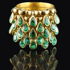 Emerald/Gold Fringe Ring
