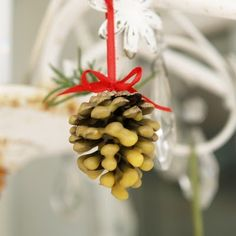 handmade beeswax pine cone Christmas ornaments - The Magic Onions : www.theMagicOnions.com