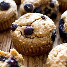 Gluten Free Vegan Blueberry Applesauce Muffins (V, GF): a one bowl recipe for soft & satisfying healthy blueberry muffins made with applesauce.