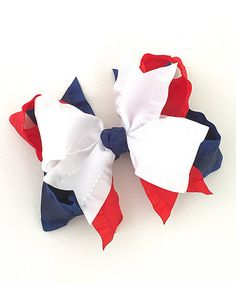 49.99 Another great find on #zulily! Red & Navy Ruffle Bow Hair Clip #zulilyfinds