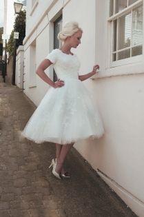 ivory lace cute tea length puffy boat neck wedding dress short sleeves
