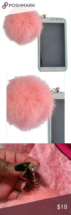 Furry ear phone plug Soft pink fur pom pom plug for phone  Universal fit Accessories Phone Cases