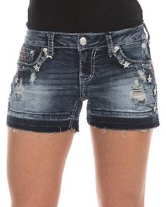 Women's Freedom Embroidered Short, Medium Stonewash