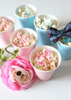 Looking for a fun way to add extra pizzaz to baby showers and gender reveal parties? Whip up these fancy gender reveal snacks for your guests to enjoy!