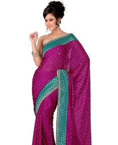 Buy Lush Magenta Chiffon Saree [ADF32166] at $101.13