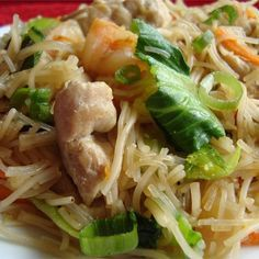 """Pork and Shrimp PancitI """"Rave reviews at my table, both for the flavor, and for the appearance. I used rice vermicelli noodles. And this recipe is quick: about 35 minutes after arriving home, it was on the table."""""""