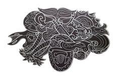 Grafidoodle Praia 3. Painel impresso e recortado em ACM (Aluminio Composto), misturando os estilos grafite e dooodle.