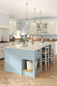 Whether you opt for oak, a painted finish or both, this kitchen will take on a rustic feel when accompanied by traditionally styled accessories and natural floor materials such as stone or timber. Blue Kitchens, Shaker Kitchen, Herringbone Wood Floor, Blue Kitchen Cabinets, Kitchen Decor, Shaker Kitchen Island, Traditional Kitchen, Blue Kitchen Island, Kitchen Design