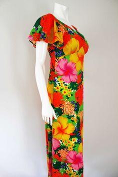Pomare Vintage 1960s Hawaiian Maxi dress - 34 bust