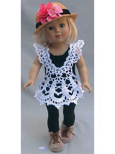 """Since lace began, it has always had a special place in every era of fashion. So now in this very modern era your 18"""" doll can exude crochet vintage chic style! Includes instructions for leggings, tunic, hat and shoes. Made using sport-weight yar..."""