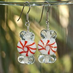 Christmas Candy Peppermint Earrings Handmade Lampwork Red White  | ShadowDogDesigns - Jewelry on ArtFire