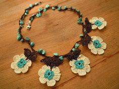 crochet flower necklace short turquoise white brown by PashaBodrum Turkish Oya Lace