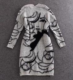 New 2016 Autumn Fake Rabbit Hair Blend Knitted Cardigans Women Girl Print Jumper Sweater Women Cardigan Coat Oversized