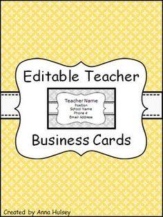 teacher contact information template