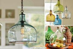 Luminárias criativas! Uma alternativa mais rústica usando garrafões de vinho (que geralmente têm cores lindas!!)