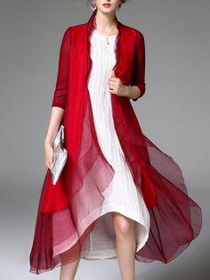 Shop Coats - Burgundy 3/4 Sleeve Silk Asymmetric Plain Coat online. Discover unique designers fashion at StyleWe.com.