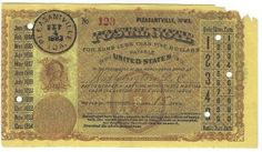 Pleasantville, IA 1883 Postal Note #123 Issued for 15 cents; payable at Washington, DC