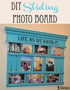 DIY sliding photo board for pictures on hertoolbelt. Great hallway or entryway idea! Diy Wood Projects, Diy Projects To Try, Wood Crafts, Frame Crafts, Yarn Crafts, Picture Boards, Picture Frames, Picture Ideas, Photo Ideas
