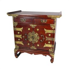 Oriental Furniture Golden Brass Alter Cabinet
