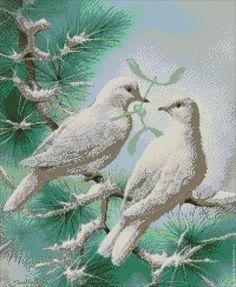 """Купить Схема для вышивания бисером """"Голуби на снегу"""" с полной зашивкой - схема вышвики голуби:"""